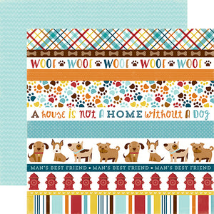 """Dog Border Strips"" 12x12 double-sided designer cardstock is part of BARK page collection kit by Echo Park Paper Co."