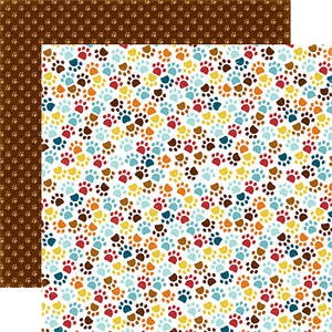 """Paw Prints"" 12x12 double-sided designer cardstock is part of BARK page collection kit by Echo Park Paper Co."