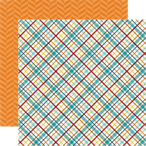 """Puppy Plaid"" 12x12 double-sided designer cardstock is part of BARK page collection kit by Echo Park Paper Co."