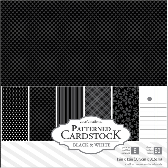 Core'dinations BLACK 12x12 Patterned Cardstock Pack - 60 sheets - 6 patterns