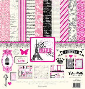 Be Mine 12x12 collection kit with romance in Paris theme - Echo Park Paper