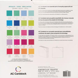 Reverse side of BRIGHTS Variety Pack Package - shows the 20 colors in pack