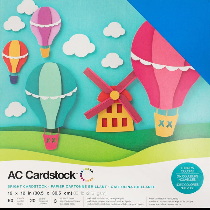 BRIGHT Cardstock Variety Pack - 20 colors - 60 textured sheets - American Crafts