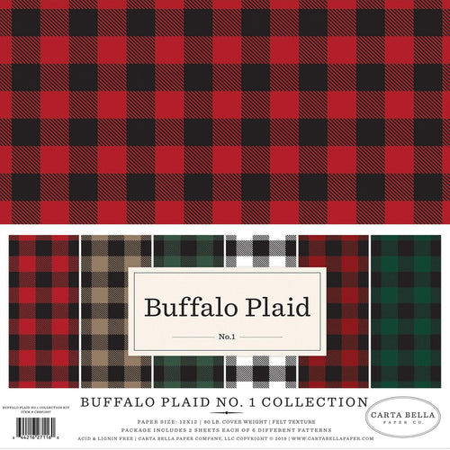 Buffalo Plaid No. 1 Collection of 12 double-sided buffalo plaid colors