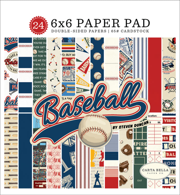 BASEBALL 6x6 cardstock pad with 24 double-sided pages from Carta Bella Paper Co.