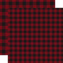 Load image into Gallery viewer, Double-sided DARK RED BUFFALO PLAID 12x12 cardstock from Carta Bella Paper Co.