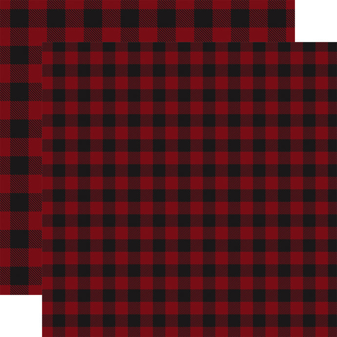 Double-sided DARK RED BUFFALO PLAID 12x12 cardstock from Carta Bella Paper Co.