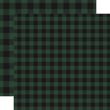 Load image into Gallery viewer, GREEN Buffalo Plaid 12x12 double-sided cardstock from Carta Bella