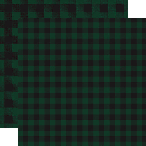 DARK GREEN Buffalo Plaid 12x12 double-sided cardstock from Carta Bella