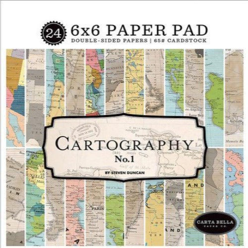CARTOGRAPHY No. 1 - 24 page 6x6 paper pad from Carta Bella Paper Co.