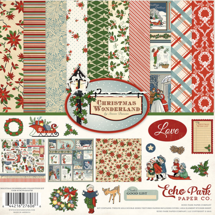CHRISTMAS WONDERLAND 12x12 Collection Kit from Carta Bella Paper - includes 12 printed cardstock sheets