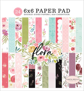 Flora No. 3 - 6x6 paper pad with 24 double-sided sheets - Carta Bella Paper