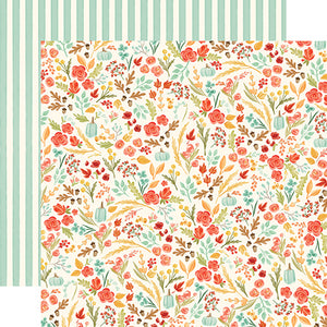 "Fall Market ""Fall Floral"" double-sided 12x12 cardstock from Carta Bella Paper"