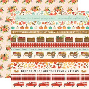 "Fall Market ""Border Strips"" double-sided 12x12 cardstock from Carta Bella Paper"