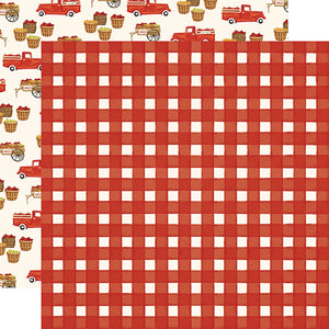 "Fall Market ""Red Gingham"" double-sided 12x12 cardstock from Carta Bella Paper"