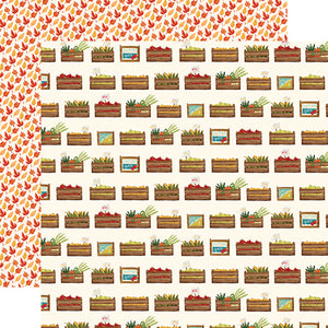 "Fall Market ""Harvest Crates"" double-sided 12x12 cardstock from Carta Bella Paper"