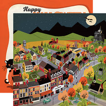 "Load image into Gallery viewer, Happy Halloween ""Halloween Town"" double-sided 12x12 cardstock"
