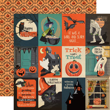 Load image into Gallery viewer, 12x12 double-sided cardstock with 3x4 Halloween journaling cards on front and pumpkin design on reverse - Carta Bella Paper Co.