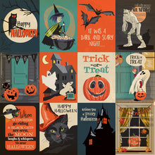 Load image into Gallery viewer, 12x12 cardstock featuring twelve 3x4 Halloween journaling cards