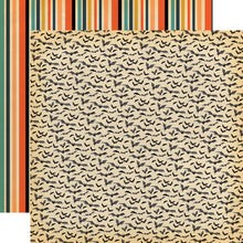 Load image into Gallery viewer, 12x12 double-sided patterned paper with bats on one side and Halloween stripes on reverse