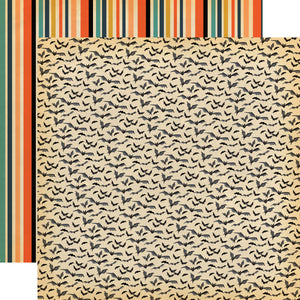 12x12 double-sided patterned paper with bats on one side and Halloween stripes on reverse