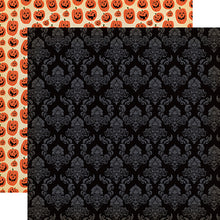 "Load image into Gallery viewer, Happy Halloween ""Ghostly Damask"" double-sided 12x12 cardstock"
