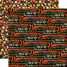 Load image into Gallery viewer, All Hallows Eve - 12x12 double-sided patterned cardstock with Halloween phrases and colorful dots from Carta Bella