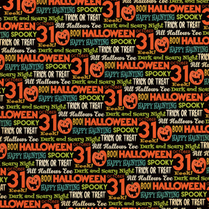 12x12 cardstock with fun Halloween phrases on black background
