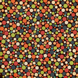 12x12 patterned cardstock with colorful dots in Halloween colors on black background