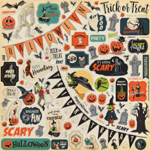 Load image into Gallery viewer, 12x12 sheet with Halloween sticker elements coordinates with Happy Halloween collection kit