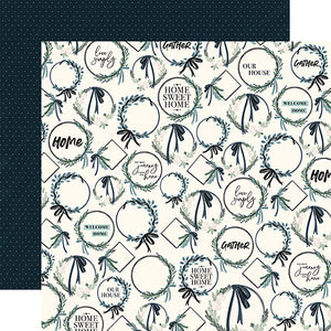 Wreaths - 12x12 double-sided cardstock from Home Again Collection by Carta Bella Paper Co.