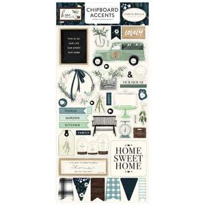 Chipboard Accents with adhesive back coordinate with Home Again Collection from Carta Bella Paper Co.