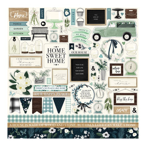 "12x12 Sheet contains ""Elements"" stickers to match the Home Again Collection from Carta Bella Paper Co."