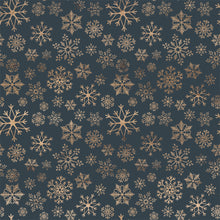 Load image into Gallery viewer, 12x12 cardstock with multiple gold snowflake shapes on deep blue background
