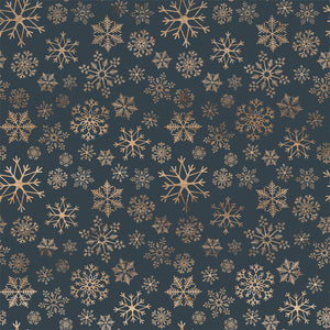 12x12 cardstock with multiple gold snowflake shapes on deep blue background