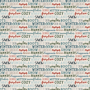 12x12 cardstock with multiple lines of winter phrases like brrrr or snowflakes - on white background
