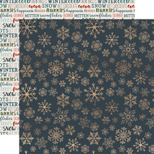 Load image into Gallery viewer, ICY SNOWFLAKES 12x12 patterned cardstock from Carta Bella features gold snowflakes on deep blue background