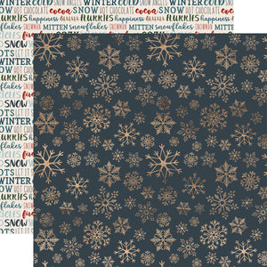 ICY SNOWFLAKES 12x12 patterned cardstock from Carta Bella features gold snowflakes on deep blue background