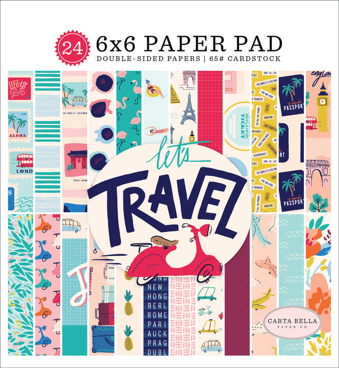 LET'S TRAVEL 6x6 cardstock pad with 24 double-sided pages from Carta Bella Paper Co.