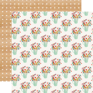 FLOWER POTS double-sided 12x12 patterned cardstock from Echo Park Paper Co.