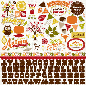 12x12 Element Sticker Sheet for A PERFECT AUTUMN Collection Kit by Echo Park Paper Co.