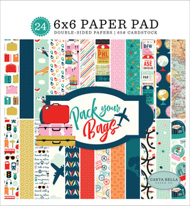 PACK YOUR BAGS 6x6 cardstock pad with 24 double-sided pages from Carta Bella Paper Co.