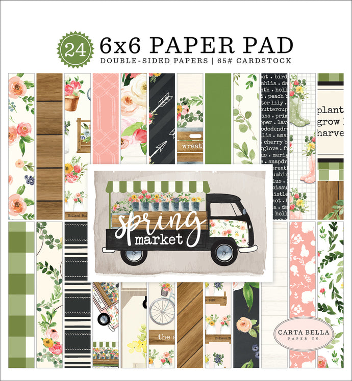 SPRING MARKET 6x6 Pad with 24 designer pages by Carta Bella Paper Co.