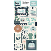 Load image into Gallery viewer, Wintertime Phrases on adhesive-backed Chipboard for Snow Much Fun Collection by Carta Bella Paper Co.