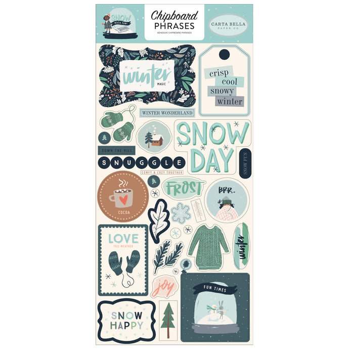Wintertime Phrases on adhesive-backed Chipboard for Snow Much Fun Collection by Carta Bella Paper Co.