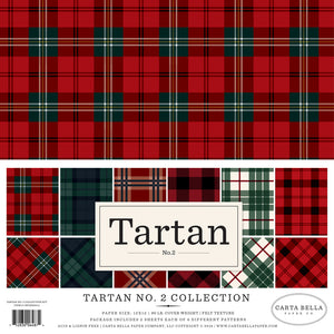 TARTAN No. 2 Assorted 12x12 Paper Pack with 12 sheets and 6 tartan patterns by Carta Bella Paper Co.