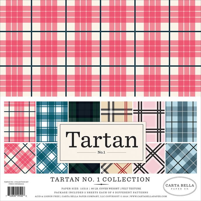 TARTAN No. 1 Collection Kit - 12 double-sided cardstock sheets with 6 Tartan patterns - Carta Bella Paper Co.