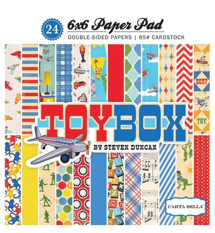 TOY BOX 6x6 cardstock pad with 24 double-sided pages from Carta Bella Paper Co.