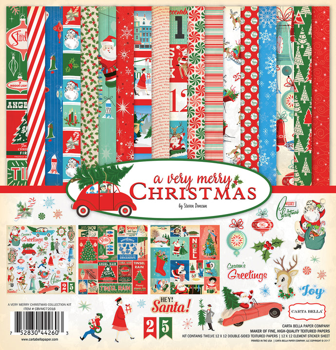 A Very Merry Christmas 12x12 collection kit from Carta Bella