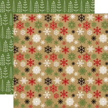 Load image into Gallery viewer, COLD OUTSIDE double-sided 12x12 cardstock with multi-colored snowflakes on one side and Christmas tree doodle on reverse - Echo Park Paper